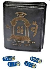 More details for orange order personalised gift wallet & 4 solid brass lapel badges name & lol no