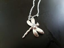 925 Silver Plated Cute Dragonfly Locket Necklace Pendant Chain Jewelry Best Gift