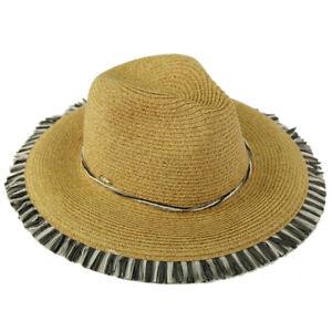 "C.C Festive Fringed Edges Panama Fedora Brim 4"" Summer Beach Pool Sun Hat"
