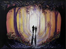 ooak Original art painted painting Acrylic Canvas forest  landscape romantic