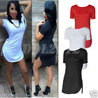 Summer Women Cropped Tops Short Sleeve Side Slit Casual T Shirt Party Mini Dress