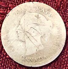 1881 H, F2 ~ CANADA ~ 5 CENTS ~ .925 SILVER ~ Queen VICTORIA ~ G4 Condition
