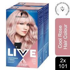2x Schwarzkopf Live Cool Rose 101 Permanent 2 in 1 Lightner + Twist Hair Dye