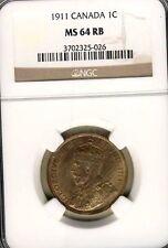 More details for superb grade 1911 canadian large cent ngc cert ms64 rb!!