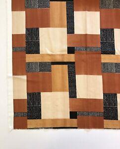 "Upholstery Fabric 1.5 Yards 54"" Wide Retro Geometric Squares Brown Tan Black"