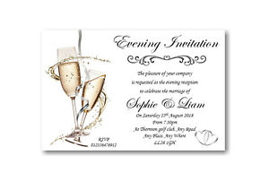 50 Personalised Wedding Evening Invites ~ Invitations Ref WE2 With Enveopes