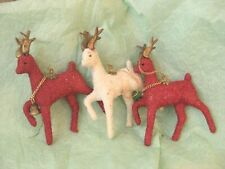 Three Vint Artificial Christmas Reindeer Molded Plastic Red & White Glitter Look
