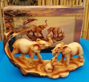 Elephant Family Safari Carved Wood Look Decorative Statue Box & Price Sticker