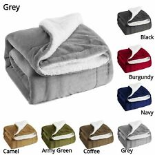 Solid Warm Sherpa Throws Sofa Bed Fleece Blanket Cozy Double King Mink Sheepskin