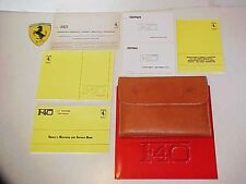 Ferrari F40 Owners Manual_Leather Pouch_Warranty Card Book_Dealer Directory OEM