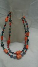 Jay King DTR mine find salmon red coral turquoise lapis 2 strands necklace