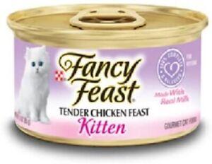 Purina Fancy Feast Kitten Tender Chicken Feast Wet Cat Food 12- 3oz Cans Each