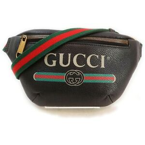 Gucci Waist Pouch Print Small Belt Bag Black Leather 1409684