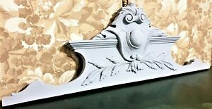 Scroll leaf grey painted carving pediment Antique french architectural salvage