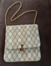 Vintage Needlepoint Evening Purse with Goldtone Rope Handle, Satin Lining