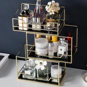 Nordic Rotating Cosmetic Desktop Storage Rack Makeup Organizer Glass Tray NEW