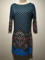 Atmosphere Blue Geometric Print Long Sleeve Sheath Dress - Size 10 (072g)