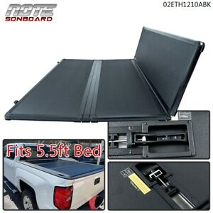 SOLID HARD TRI-FOLD TONNEAU COVER FIT FOR 15-20 FORD F-150 5.5FT SHORT BED COVER