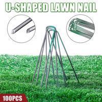 100PCS Half Green Garden Securing Pegs U Pins Weed Turf Cover Galvanised Staples