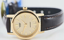 Casio LTP-1095Q-9A Ladies Analog Watch Brown Leather Band Gold Face Elegant New