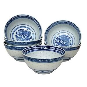 Chinese Blue and White Bowls - Rice Pattern - Set of 6 - 13cm