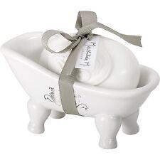 Mathilde M Bath Tub Douce Arabesque Soap Dish & Jardin Scented Soap Gift Set