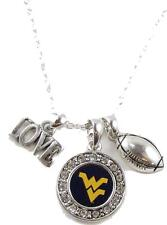 West Virginia Mountaineers Multi Charm Love Football Silver Necklace Jewelry WVU