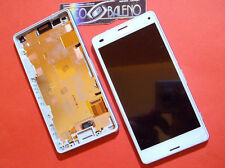 DISPLAY+ TOUCH SCREEN +FRAME COVER per SONY XPERIA Z3 MINI COMPACT D5803 BIANCO