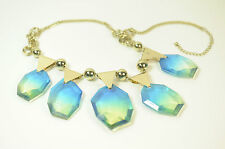 LADIES CHUNKY GREEN BLUE STONE ABSTRACT GOLDEN NECKLACE VIVID BOLD COLOURS (SR1)