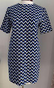 new ZARA short Mini Shift Dress XS Blue/white/black Chevron Can Fit S-M