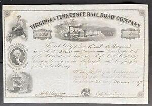 VIRGINIA & TENNESSEE RAILROAD Stock 1857 Lynchburg, VA Historic RR. J.R McDaniel