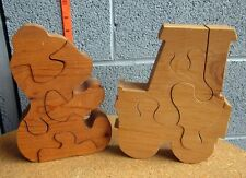 CLASSIC WOODEN PUZZLES homemade Teddy Bear & Tractor toddler chunky toddler toys