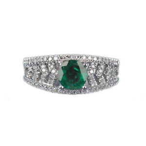 1.70Ct Round Cut Natural Zambian Green Emerald Women's Ring 925 Sterling Silver