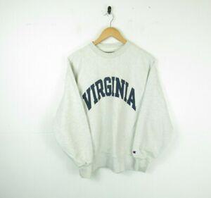 VTG Champion 80s Grey VIRGINIA College Reverse Weave Sweatshirt Mens Wavey Small