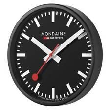 Mondaine A990.CLOCK.64SBB Official Swiss Railways Black Metal 25cm Wall Clock