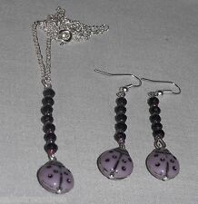 3 pcs Lavender Porcelain Ladybug & Crystals Dangle Earrings & Necklace Set