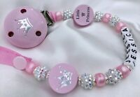 ♕ Personalised DUMMY CLIP Your Name Choice ♕ LITTLE PRINCESS ♕ Sparkle & Pink♕