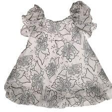 JOLIE Midi Length Dress Sz M Black White Floral Ruffle Sleeve Layered Chiffon