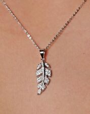 Celebrity Style Sterling Silver Cubic Zirconia Leaf Design Pendant and Necklace