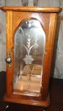 VINTAGE CENTURION FLORAL HUMING BIRD ETCHED GLASS MAPLE WOOD JEWELRY BOX