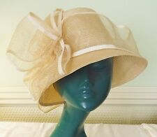 BERMONA ENGLAND VINTAGE CREAM STRAW HAT WITH STRAW NETTED OVERLAY SMART CHIC