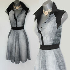 Karen Millen UK 14 Black Grey White Print Shirt Style Casual Work Party Dress 42