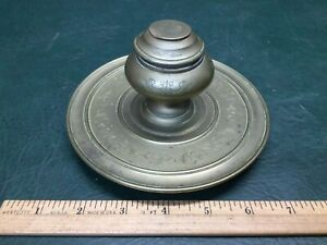 Vintage Antique Chased Brass Inkwell
