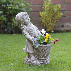 GIRL WITH BASKET FLOWER PLANTER Cast Stone Garden Ornament Statue ⧫onefold-uk