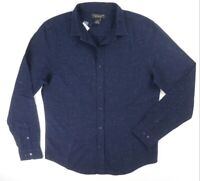 NEW $98 BLOOMINGDALES NAVY NEPTWEED WOVEN THICK FEEL CASUAL DRESS SHIRT