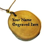 Personalised Necklace Handmade Wooden Engraved Charm Pendant Choker Jewellery