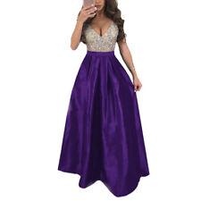 Women Sleeveless V Neck Prom Dress Evening Party Bridesmaid Long Ball Gown Dress