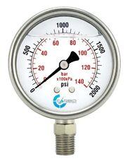 25 Liquid Filled Pressure Gauge 0 2000 Psi Stainless Steel Case Lower Mount