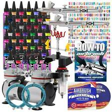 Complete Nail Art Airbrush Kit - 48 Colors - 480 Stencils Set with Compressor