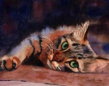 """Giclee Print Maine Coon Tabby Cat Art Watercolor Painting """"Floored Ii"""" Decor"""